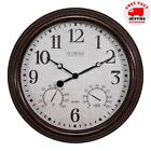 """La Crosse 15"""" Outdoor Wall Clock Temperature Thermometer Humidity Hygrometer NEW"""