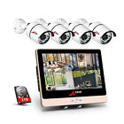 ANRAN 1080P 4CH POE NVR 12''LCD-M Home HD CCTV Outdoor Security Camera System 1T