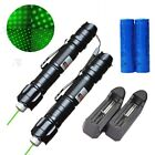 2PC NEW Green Laser Pointer Pen 5mw 532nm Star Cap Belt clip + Battery+Charger