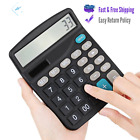Large LCD 12 Digit Calculator Display Solar Battery Dual Power Big Button Black