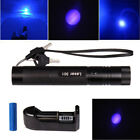 20Miles 405nm 1MW Blue Beam Light Hunting Teacher Pointer pen *Battery+Charger