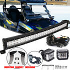 "Polaris RZR S 900 XP1000 800 32"" Light Bar+2X 45W Side Shot LED Pods Mount Kit"