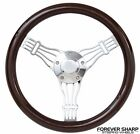 "14"" Boat Marine Dark Wood Banjo Steering Wheel w/ 3/4"" Tapered Keyway Adapter"""