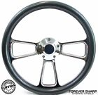 "14"" Marine Boat Polished Billet Steering Wheel w/ Carbon Fiber Set 3/4"" Key W..."