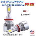 CREE H11 9005 HB3 LED Headlight Kits Power Bulbs 6000K For Honda Civic 2017-2016