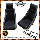 Pair BB1 GT Classic Bucket Seats Black / Alcantara + Subframe Fits CLASSIC MINI