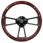 Hot Rod Street Rod Rat Rod Truck Real Wood Steering Wheel, Flame Horn Adapter