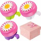 BBTO 3 Pieces Kids Bike Bells Flower Shape Bicycle Rings Accessory Bike Parts 3
