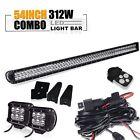 "54"" Led Work Light Bar 312w+light pods UTV Yamaha Rhino Kawasaki 660 700 ATV"