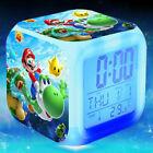 New Super mario bros Kids digital Alarm Clock Cartoon night light Toys Flash 7 C