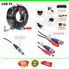 100 FT Security Camera Cable CCTV Video Power Wire Extend BNC RCA Black Cord DVR