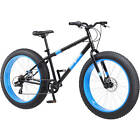"26"" Mongoose Fat Tire Bike Mens Bicycle Steel Frame NEW Black 7 Speed Shimano"