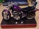 NEW IN BOX - PURPLE MOTORCYCLE AM / FM RADIO ALARM CLOCK