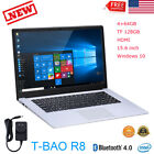 "T-bao R8 Laptop Computer 15.6"" Windows10 Quad Core 64GB TF 128GB HDMI Bluetooth"