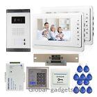 "Apartment 2-Unit Wired 7"" Video Door Phone Door Intercom+RFID Card Access Keypad"