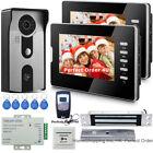 "7"" Video Door Phone Video Intercom 2 Monitors+RFID Access Camera+Magnetic Lock"