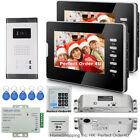 "Wired 7"" Video Door Phone Video Intercom For Apartment 2 Monitors+Drop Bolt Lock"