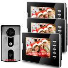 """7"""" Video Door Phone Doorbell Door Intercom 3 Monitors+RFID Camera Night Version"""