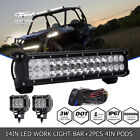 "14"" inch 90W Led Light Bar +2x 18W Pod + Wire For Boat Deck Mast Marine Spreader"