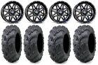 "MSA Black Vibe 14"" UTV Wheels 28"" Zilla Tires Polaris RZR Turbo S / RS1"