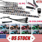Stable 12pc RGB LED Under Motorcycle Tube Strip Glow Neon Lighting Kit with RC
