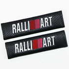 Car Carbon Fiber 3D Embroidery RALLIART Logo Seat Belt Safety Shoulder Pad Cover