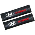 Car Carbon Fiber 3D Embroidery Hyundai Logo Seat Belt Safety Shoulder Pad Cover