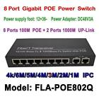 8Port POE Switch 130W DC&2Lan Gigabit Port IP Camera CCTV Power Supply Adapter