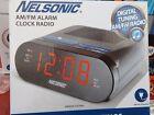 NELSONIC AM/FM Alarm Clock Radio Dual Alarm Red Display Battery Backup A2951V