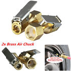 2pcs Metal  Tire Inflator Open Flow Straight Lock-On Air Chuck with Clip Gold US