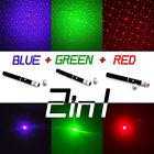 3 Sets 10Miles 1mw Red+Green+Blue Purple Laser Pointer Pen+3*Star Cap Wholesales