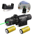 Tactical Green Laser Sight Dot Scope For Hunting +16340 Battery Charger NEW