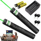 2*301-Green Laser Pointer 50 Miles Teaching Pen 1mw 532nm Light+Battery+Charger