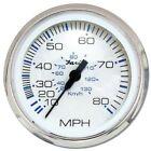 """Faria Chesapeake SS White 4"""" Gauge - Speedometer. 80 MPH"""