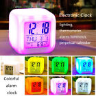 Relaxing Home Bedroom Child 7 Color LED Change Digital Glowing Alarm Clock