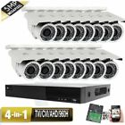 16CH All-in-1 DVR 5MP 4-in-1 TVI Security Camera System 3TB Bullet AHD 960H 5GH