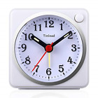 Small Analog Travel Alarm Clock Silent Non Ticking,Snooze,Ascending Beep