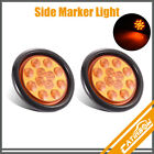 "2x 12 LED 4"" Amber Round Reverse Brake Stop Side Marker Clearance Tail Lights"