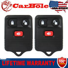 2PCS Of 3 Button Remote Keys Fob With Batteries Fit Ford Mercury Lincoln