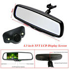 "4.3"" Car Dimming TFT LCD Rear View Mirror Monitor w/ Rear Camera 2 Video Input"