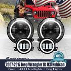 60W 7inch LED Headlights White DRL Yellow Light+LED Fog Lights Fit Jeep Wrangler