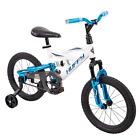 "Huffy 16"" DS 1600 Stylish Boys Bike for Kids with EZ Build, White w/ Blue Finish"