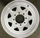 "16"" Gloss White Spoke Trailer Rim Wheel tire cargo, car"