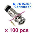 100pcs Compression High Quality RG59 Coaxial BNC Connector Plug for CCTV Camera