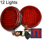 "(12) 4"" Round Led Truck Trailer RV Lights Stop Turn Tail + U-turn Signal Red"