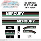 1991, 1992 & 1993 Mercury 150 HP Black Max Oil Injection Outboard 13 Pc Decal V6