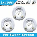 WHITE PREMIUM 300Ft HIGH QUALITY THICK BNC EXTENSION CABLES FOR SWANN SYSTEMS