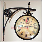 Vintage 1747 Victoria Train Railway Station Clock 2 Sided Battery Powered Clock
