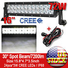 72W 16inch Cree Spot Beam LED Work Light Bar Offroad Car SUV Lamp + Wire Harness