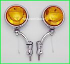 "6 Volt Amber Glass 5"" Fog Lights with Chrome Bumper Brackets H3 - Ford"